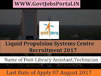 Liquid Propulsion Systems Centre Recruitment 2017– 21 Technician, Library Assistant