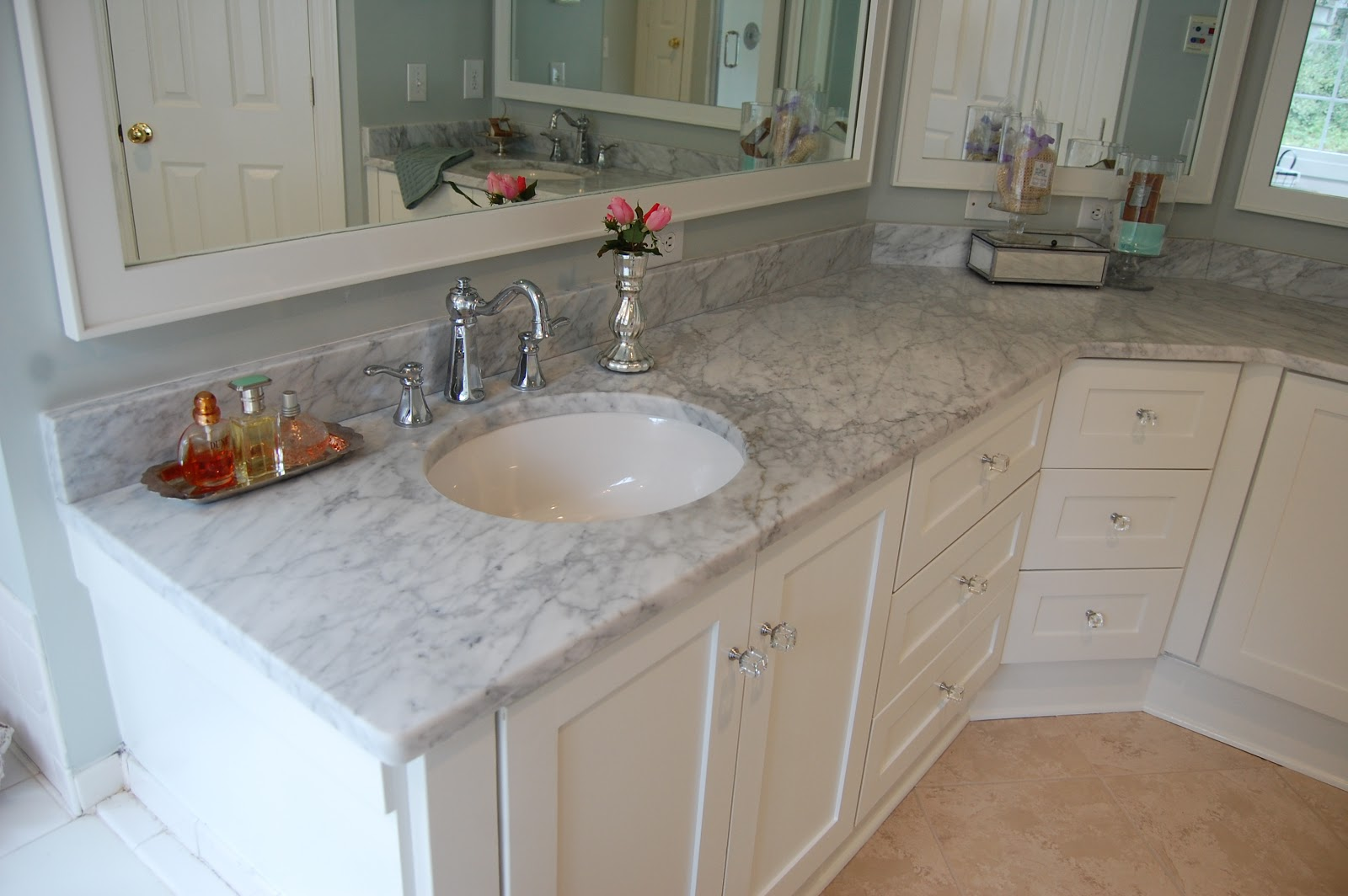 Birds of a feather bathroom reno sort of - Marble countertops for bathrooms ...