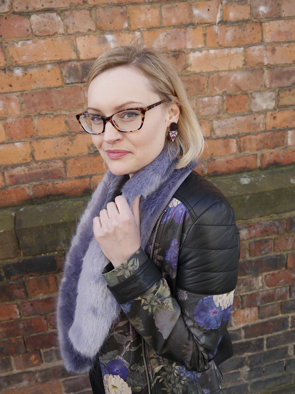 Fearne Cotton very collection, painted leather jacket, how to style a leather jacket, cool girl style inspiration, how to dress like a Cool Girl, Mica Peet earrings, IOLLA new collection glasses, Wardrobe Conversations blog,