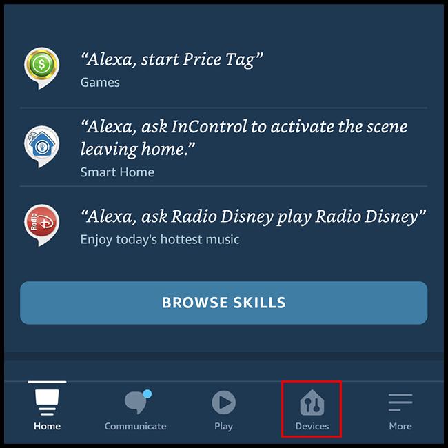 """حدد علامة التبويب """"الأجهزة"""" في الجزء السفلي من الشاشة"""
