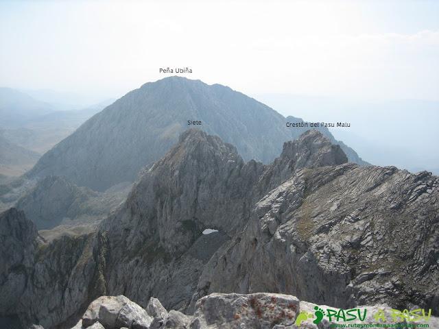 Siete y Crestón del Pasu Malu desde la cima del Fontán Sur