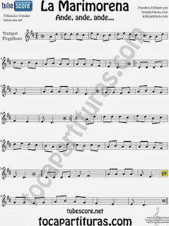 Partitura de La Marimorena para Trompeta y Fliscorno Villancico Carol Song Sheet Music for Trumpet and Flugelhorn Music Scores