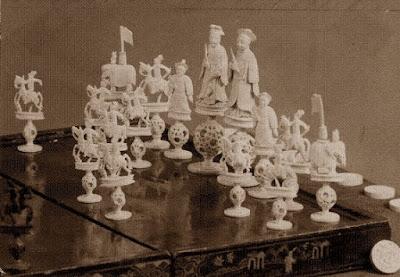 Juego de ajedrez chines de marfil