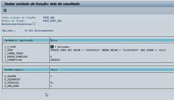Consultant Sap Se37 Modulo De Função Rsdu Exec Sql Dar