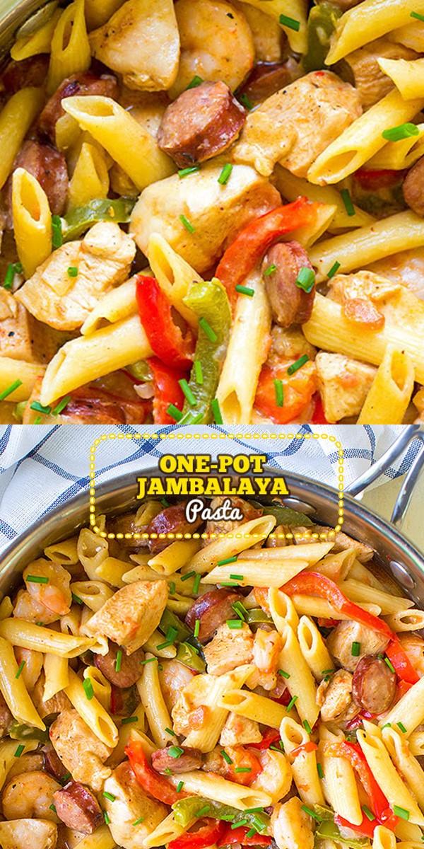 ONE POT JAMBALAYA PASTA #pastarecipes