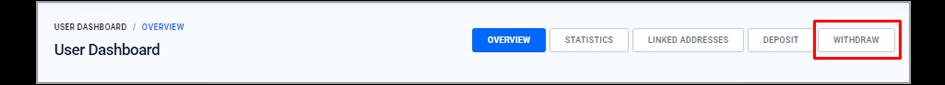 Botão Retirar 'Withdraw'
