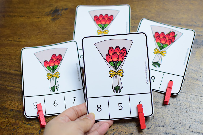Valentine's Day-Themed Math Resource: Counting Roses Clipcards