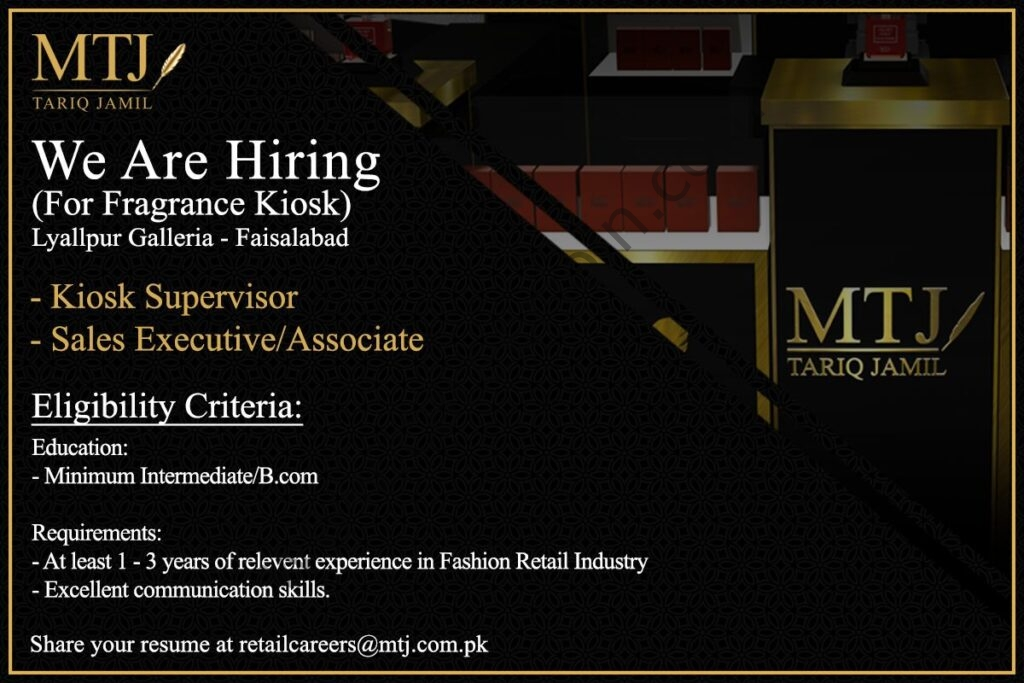 retailcareers@mtj.com.pk - MTJ Tariq Jamil Jobs 2021 in Pakistan