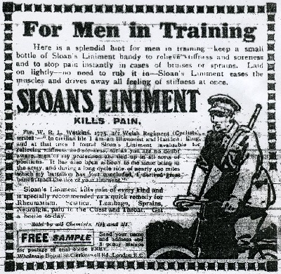 Advert for Sloan's Liniment from the Durham Advertiser, 1916