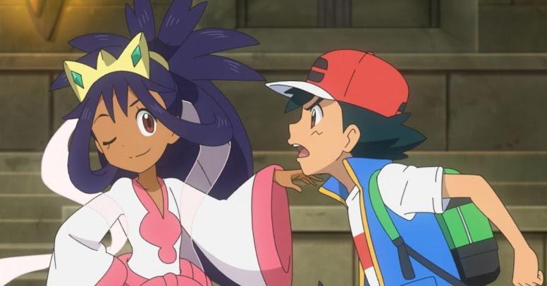Iris e Ash na série Jornadas Pokémon
