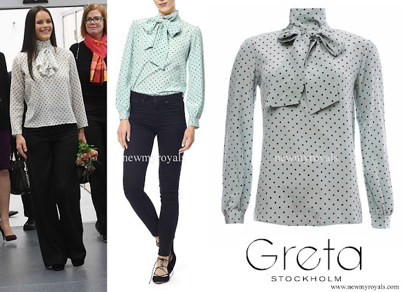 Princess Sofia wore Greta Nellie blouse white dot front