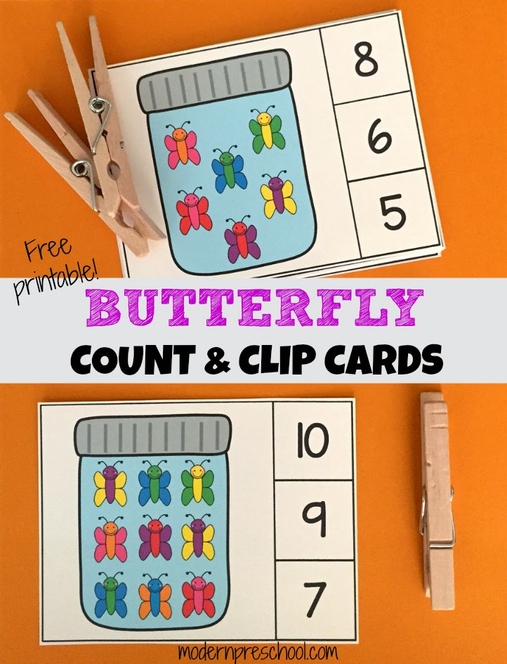 Butterfly Count Amp Clip Number Cards