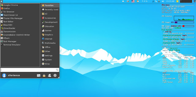 Arch XFerience Linux Whisker Menu