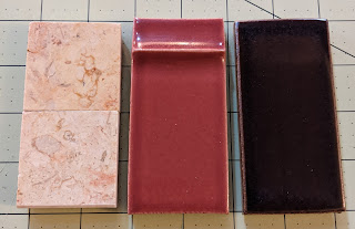 Example marble pieces, just under 2 inches by 2 inches, plus two example tiles that are each2 inches by 4 inches.