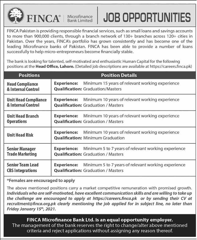 FINCA Jobs 2021 - FINCA Microfinance Bank Jobs 2021 - Latest vacancies in the bank 2021 - Online application - careers.finca.pk - recruitment@finca.or