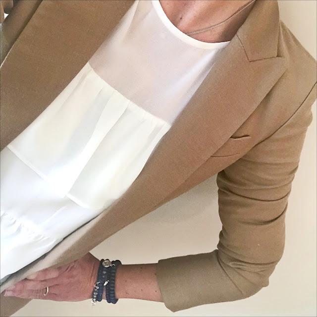 My Midlife Fashion, baukjen westbury blazer, marks and spencer ruffle round neck ¾ sleeve blouse, j crew skinny jeans, french sole leopard print ballet pumps
