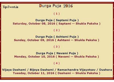 Durga Puja 2016 Dates, Durga Puja Calendar, Durga Puja Schedule