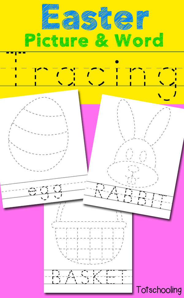Free Easter themed worksheets to practice tracing words and pictures. Great for handwriting and fine motor skills. Includes an Easter bunny, egg, basket and a cross.
