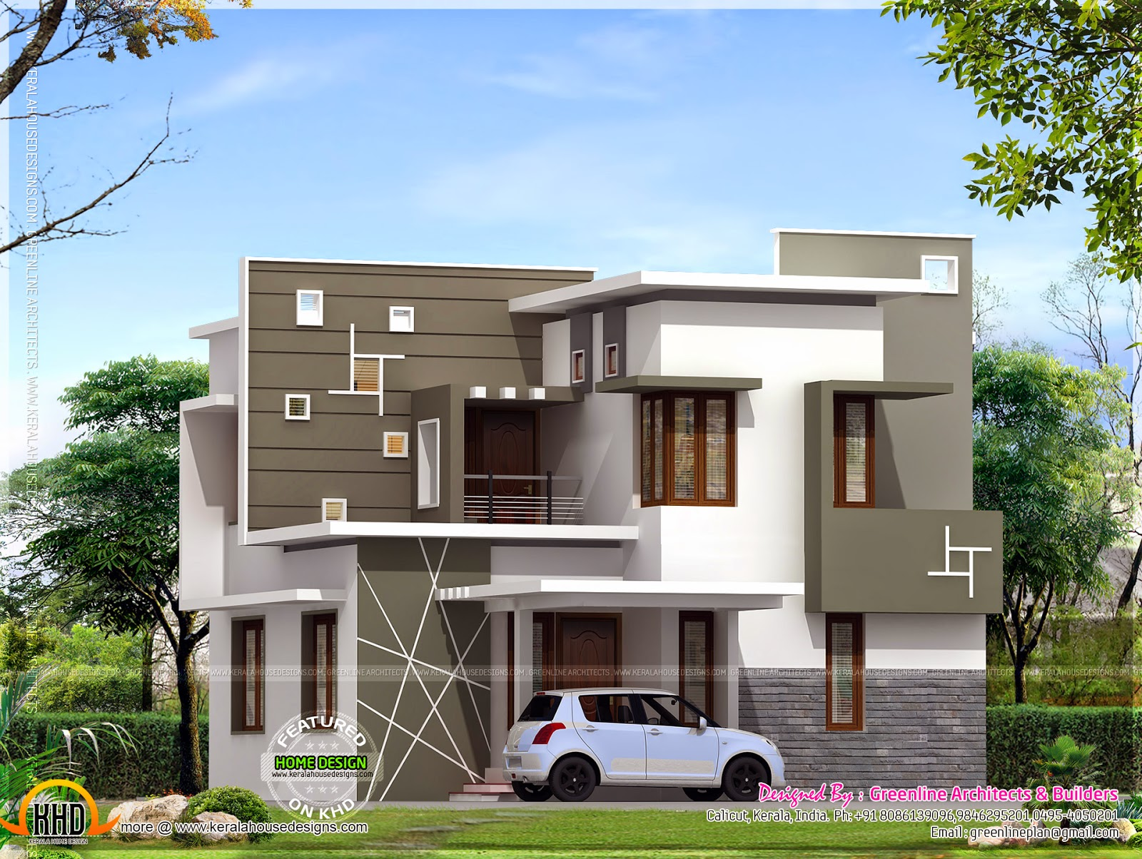 Small House Elevation Kerala Style : Kerala style modern house plans and elevations front design