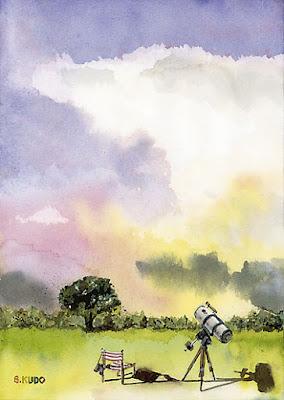 表紙のイラスト。かなとこ雲と望遠鏡。水彩