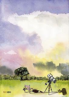水彩イラスト「かなとこ雲と天体望遠鏡」
