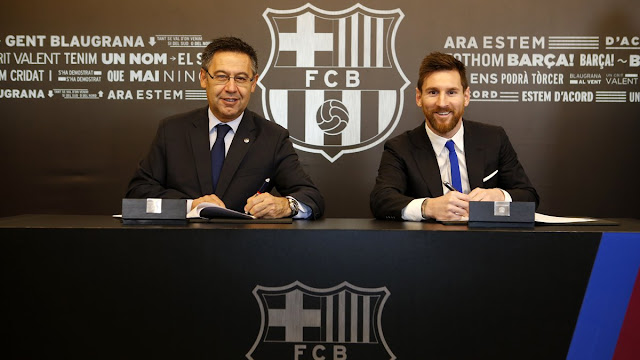 Lionel Messi extends Barcelona contract till 2021