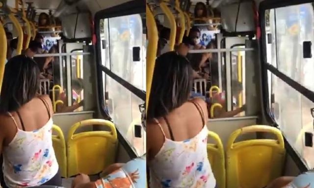 Uma mulher foi agredida e expulsa de um coletivo em Salvador (BA), na tarde desta quarta-feira (06)