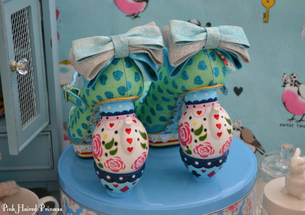 glitter bow and teapot and teacup heels on Irregular Choice Alice My Cup Of Tea shoes