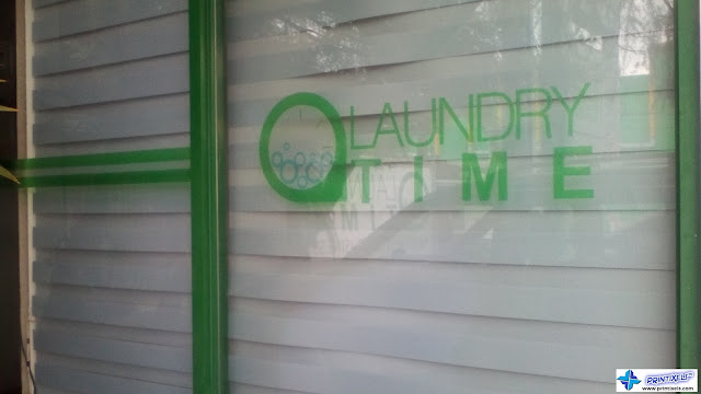 Cavite frosted cut out logo stickers laundry time