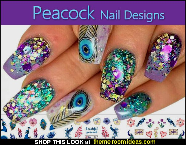 Peacock Leaf Flower Water Decal Wraps Nail Art Decor Beauty Foil Manicure nail sticker art Design Stamping DIY Decals