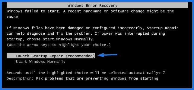 Windows 7 Launch Startup Repair