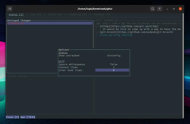GitUI options popup