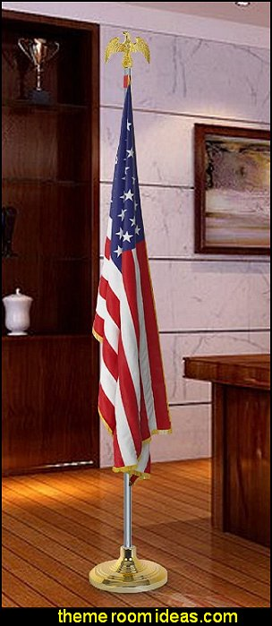 Indoor Flag Pole Kit with Base Stand and Gold American Eagle Topper Ornament AMERICANA