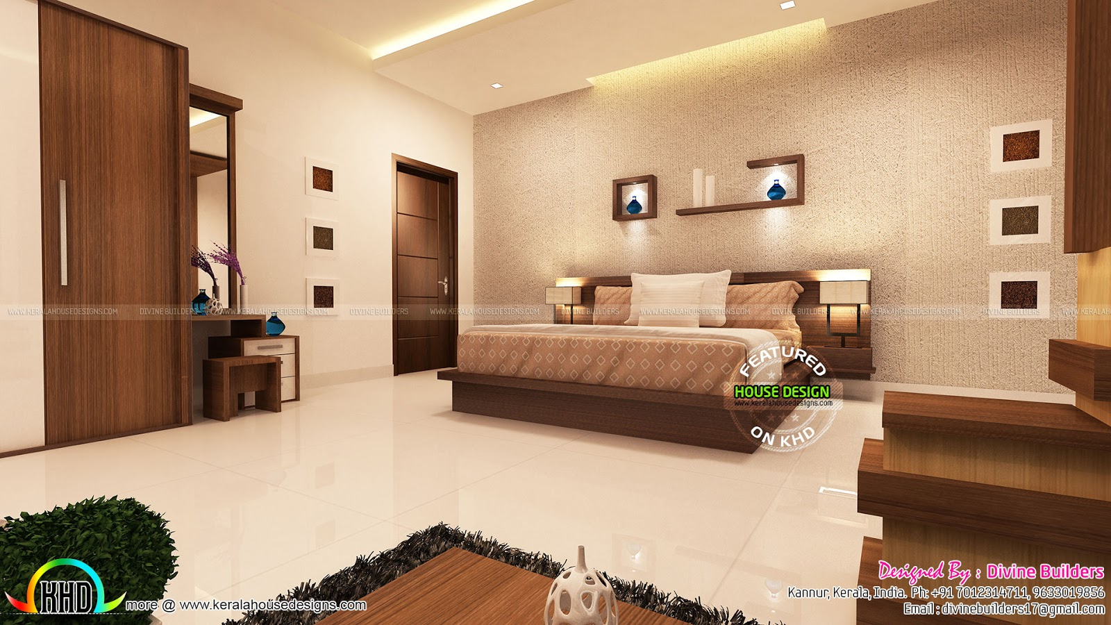 Master Bedroom And Living Room Interior Kerala Home Design And Floor Plans