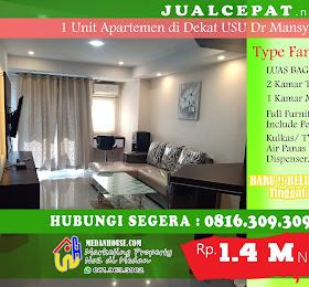 Di JUALCEPAT.NET 1 Unit Apartemen Type Family Room Dekat USU jl.Dr.Mansyur <del>Rp 1.500.000.000,-</del> <price>Rp 1.400.000.000,-</price> <code>MH-AP14</code>