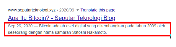 Contoh Meta Description