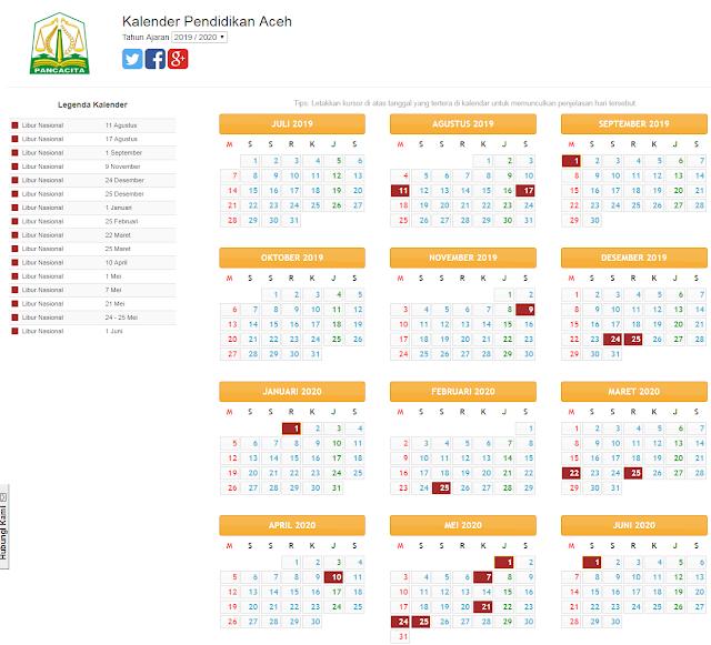Kalender pendidikan provinsi aceh 2019/2020
