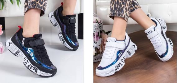 Adidasi fete moderni cu talpa groasa model nou 2019 albi, negri fashion