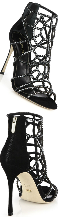 Sergio Rossi Bejeweled Suede Puzzle Sandals