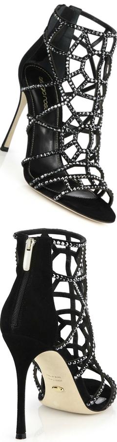Sergio Rossi Bejeweled Suede Puzzle Sandals