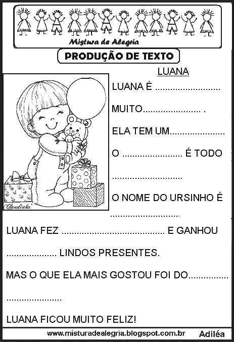 Producao De Texto Infantil Atividades De Alfabetizacao Producao