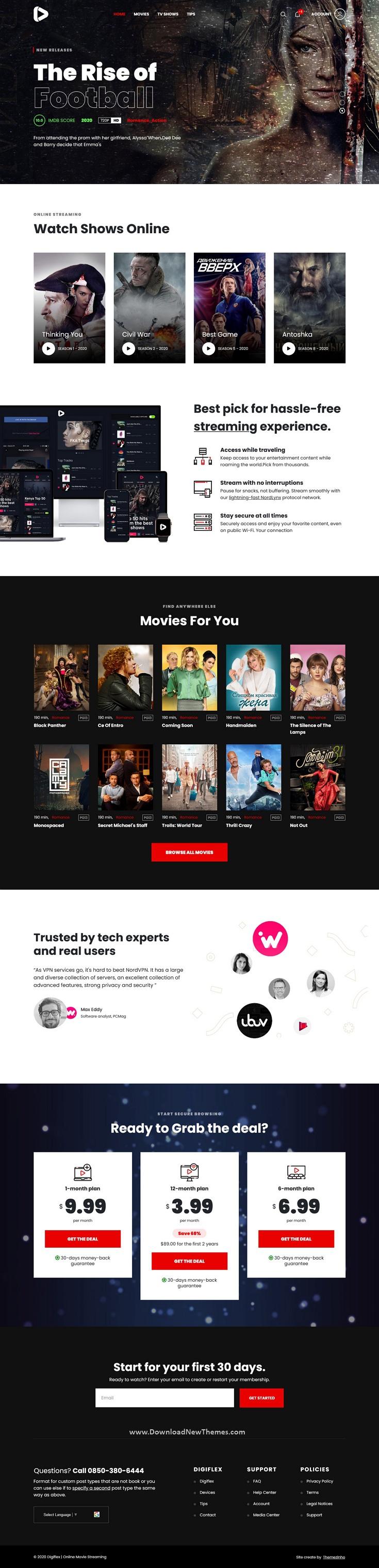 Online Movie Streaming Joomla Template