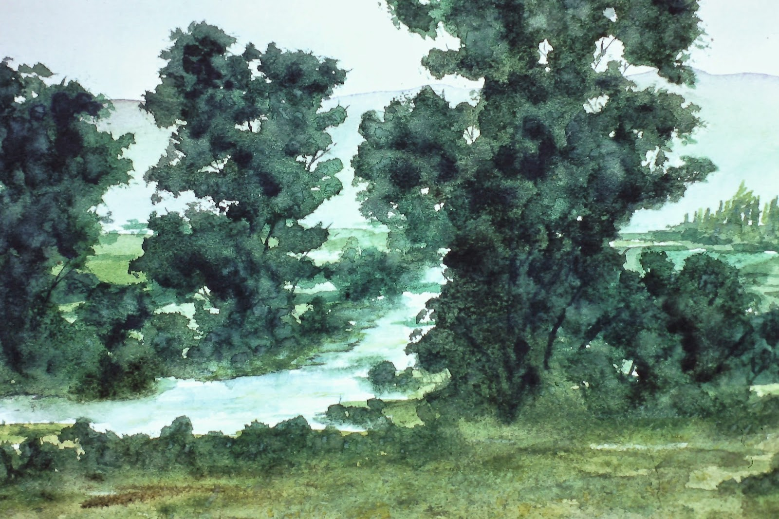 River South Esk, near Brechin, Angus, Scotland  30x40 inches. Watercolor on paper, c. 1991. by Lenny Campello