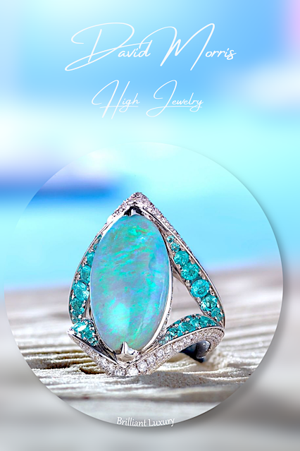 David Morris 9.33ct opal Paraiba tourmaline white diamonds ring #brilliantluxury