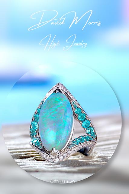 ♦David Morris 9.33ct opal Paraiba tourmaline white diamonds ring #jewelry #brilliantluxury