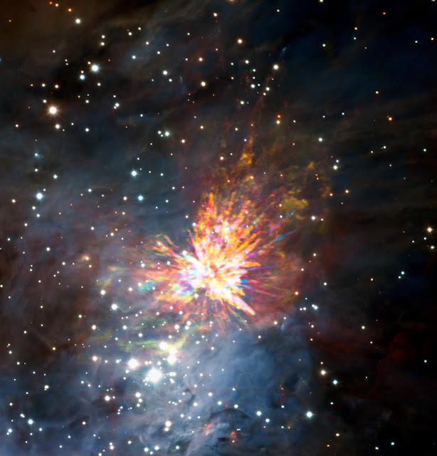 Stellar Explosion in the Orion Molecular Cloud 1