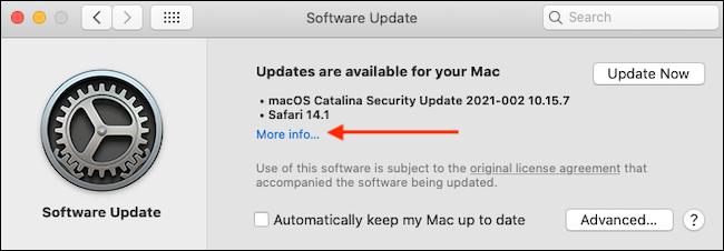 """انقر فوق """"مزيد من المعلومات"""" في تحديث البرنامج."""