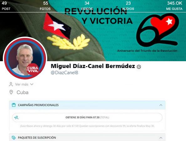 Miguel Díaz-Canel se abre una cuenta en OnlyFans