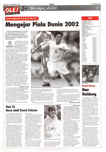 PIALA ASIA 2000: SETERU INDONESIA DI GRUP B CINA