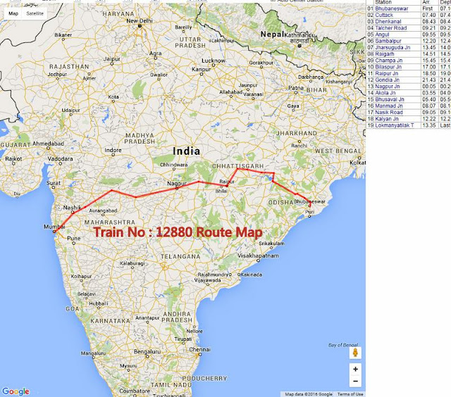 Train 12880 Bhubaneswar to Mumbai Route Map